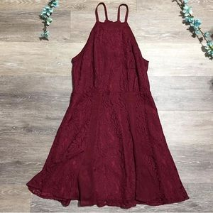 2/$20 Forever21 Maroon Lace Fit & Flare Mini Dress